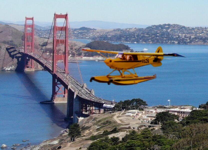 旧金山湾区的水上飞机航空之旅和索萨利托和金门大桥上的直升机飞行
