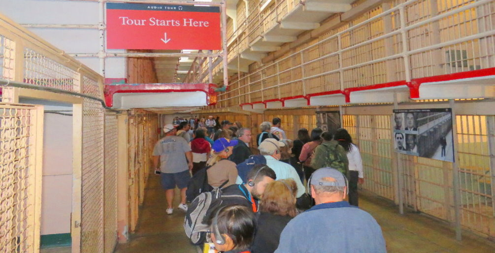 Audio guided tour of Alcatraz prison Cells blockcell house head phone tour