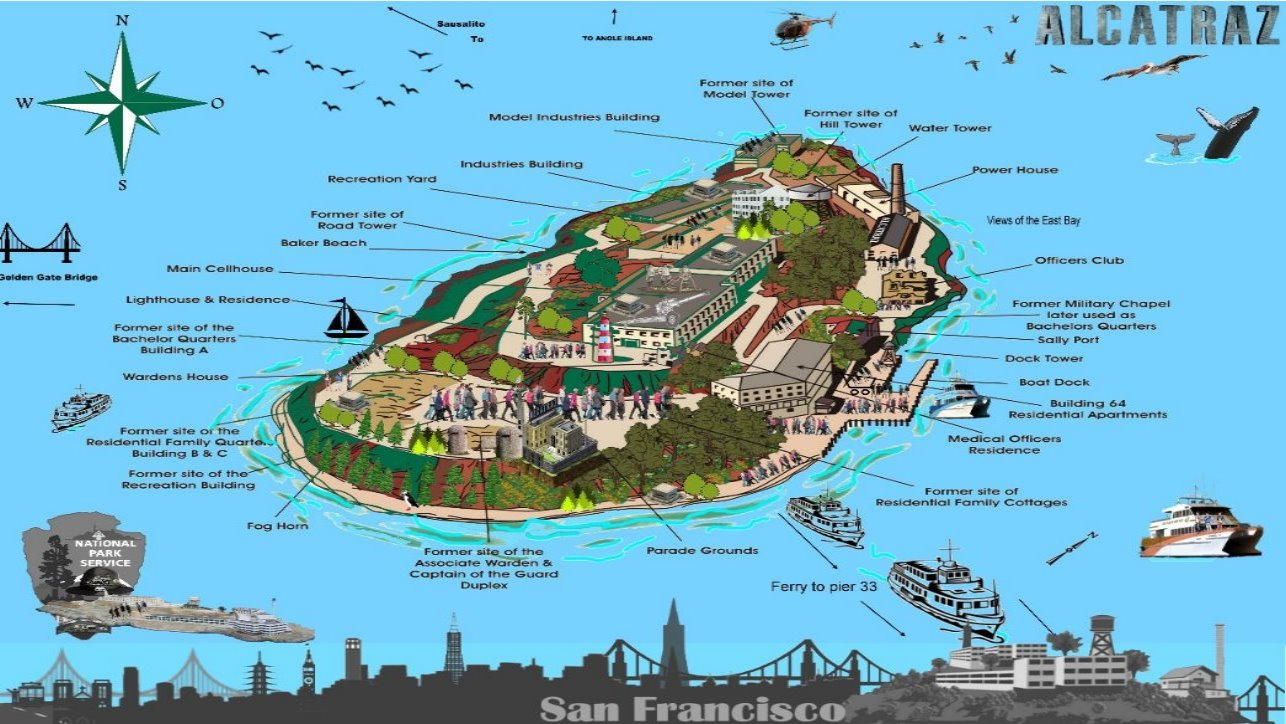 Map of Alcatraz Island ferry line map