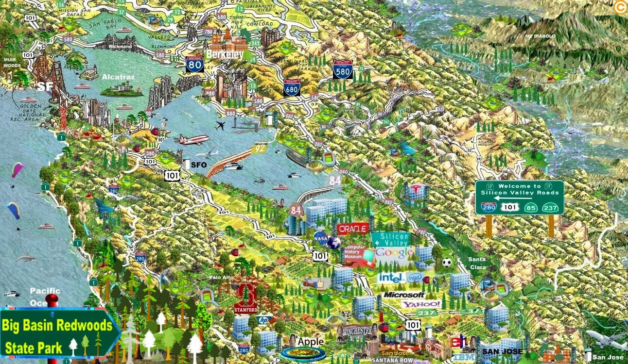 raod_map_big_basin_redwoods_map_silicon_valley_maps