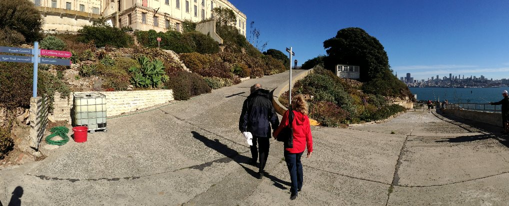 walking-outside-Alcatraz-prison-Alcatraz-island-views-of-san-francisco-